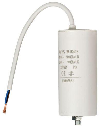 CABLE NORME EN60252 NEUF CONDENSATEUR MOTEUR ELECTRIQUE 40μF 40uF //-5/%  450V
