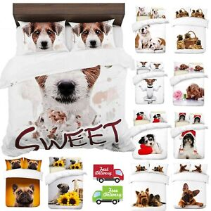 UK-Made-3D-Duvet-Quilt-Cover-With-Pillowcases-New-Dogs-Design-Digital-Print