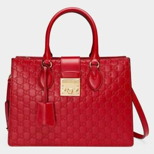 Image is loading Gucci-Borsa-Padlock-Gucci-Signature-Top-Handle-Leather- af7f24fd62bb0