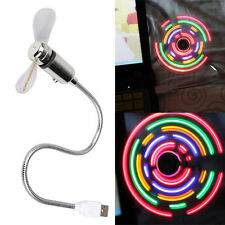 Flexible Colorful LED Light  Mini USB Fan Cooling for Home Desk Notebook Laptop