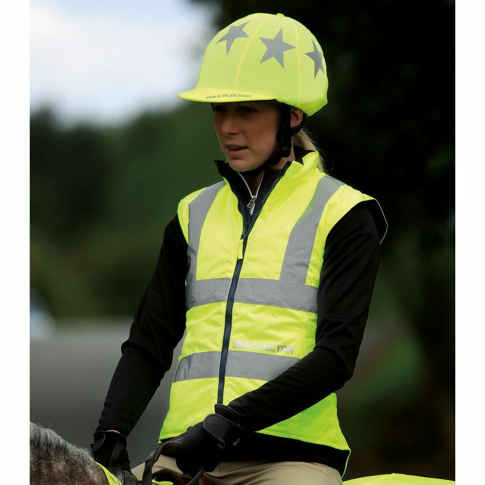 Shires Equi-Flector Reversible Hi-Viz Reflective Waistcoat YELLOW small