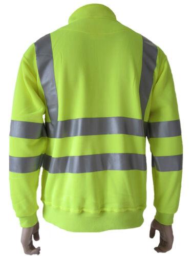 Mens High Visibility Half Zip Hi Viz Vis Reflective Work Wear Safety Sweatshirt