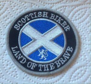 "Scottish biker "" Land of the brave Patch Motorcycle Scotland Saltire"