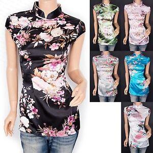 Stunning-Satin-Floral-Prints-Mandarin-Collar-Cap-Sleeves-Top-Blouse
