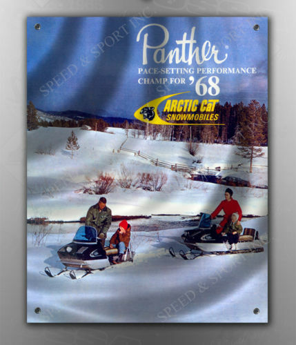 VINTAGE ARCTIC CAT 1968 PANTHER SNOWMOBILE BANNER