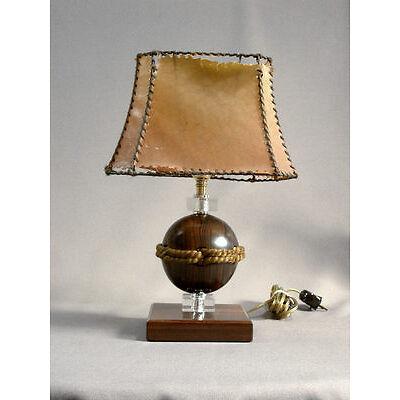 MAGNIFIQUE LAMPE EPOQUE ART DECO en EBENE de MACASSAR et CRISTAL era J M FRANK
