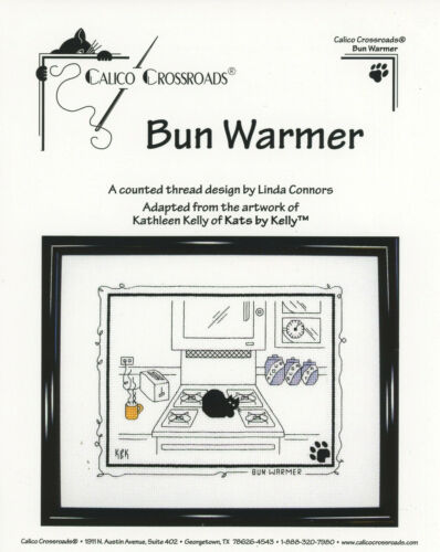 Bun Warmer Black Cat Kats by Kelly Calico Crossroads Cross Stitch Pattern