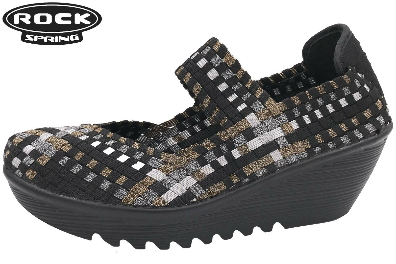 Rock Spring Schwarz Damen Schuhe geflochten Keil Absatz Weiche Memory Decksohle
