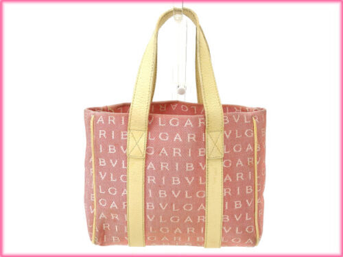 Mania Woman Authentic Brukt Tote Logo Red Y1593 Bag Bvlgari Beige THgtwqYw