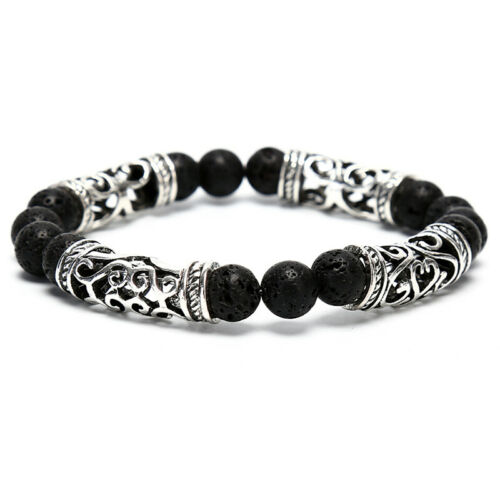 Natural Stone Men Women 8mm Lava Rock Bracelet Elastic Yoga Beads Bracelet Gift