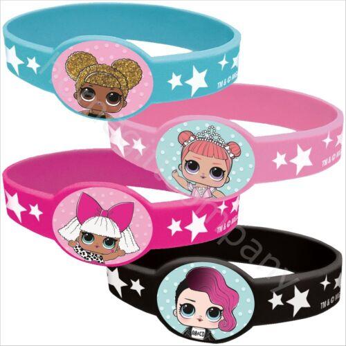 LOL Surprise Silicone Wristband Stretch Bracelet Girls Birthday Party Favours x4