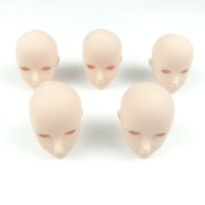 5PCS Normal Skin Tone Doll Unpainted Heads For 1//6 BJD Dolls Practice Makeup
