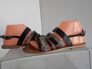 CHARLES-DAVID-Black-Leather-Ankle-Strap-Sandals-Womens-Sz-7-5