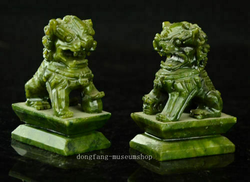 Exquisite A pair  China Green jade Fengshui Foo Fu Dog Guardion Door Lion Pair