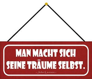 Man Macht Itself Dream Selbst Shield with Cord Metal Tin Sign 10 X 27 CM K0685-K