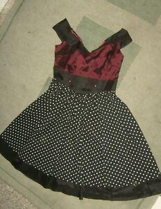satinkleid rockabilly kleid rot schwarz weiß punkte weiter ...