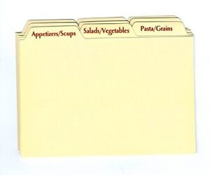 Image Is Loading Recipe Card Box Tab Divider Set New For