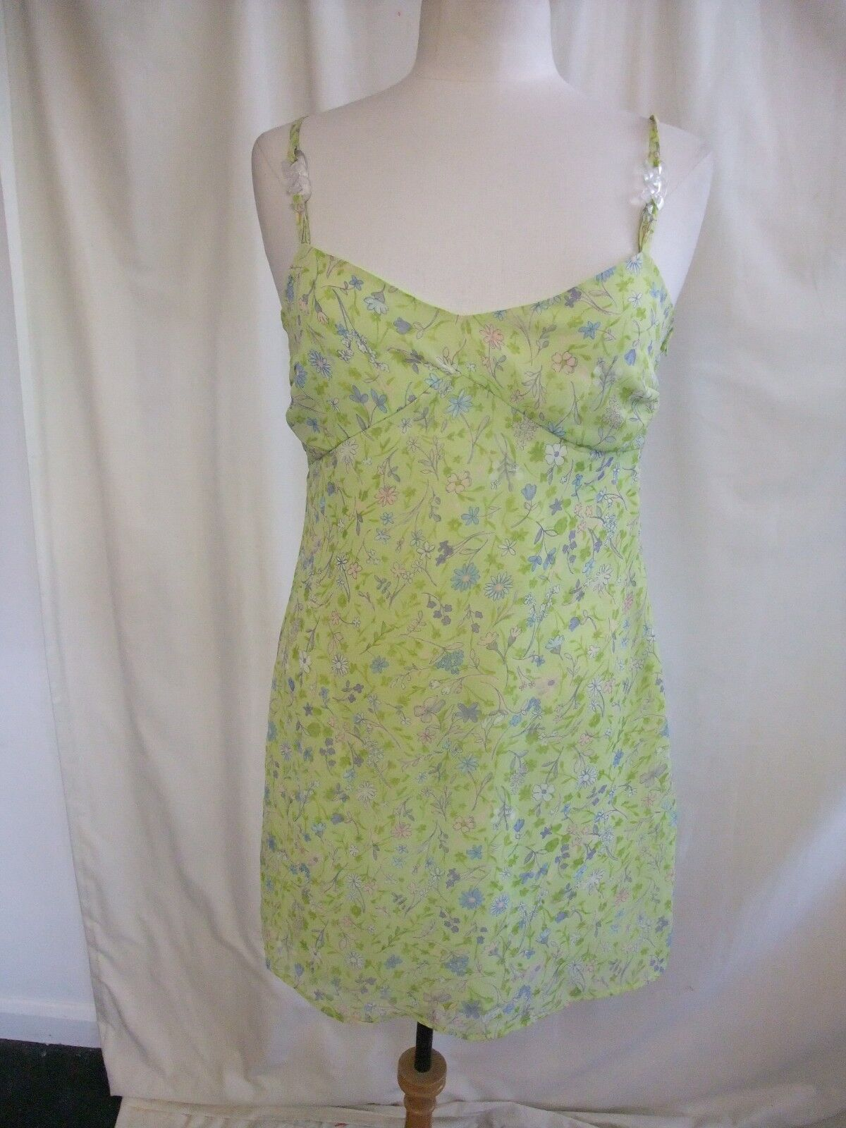 Ladies Mini Dress InWear green floral polyester, strappy, lined 1870
