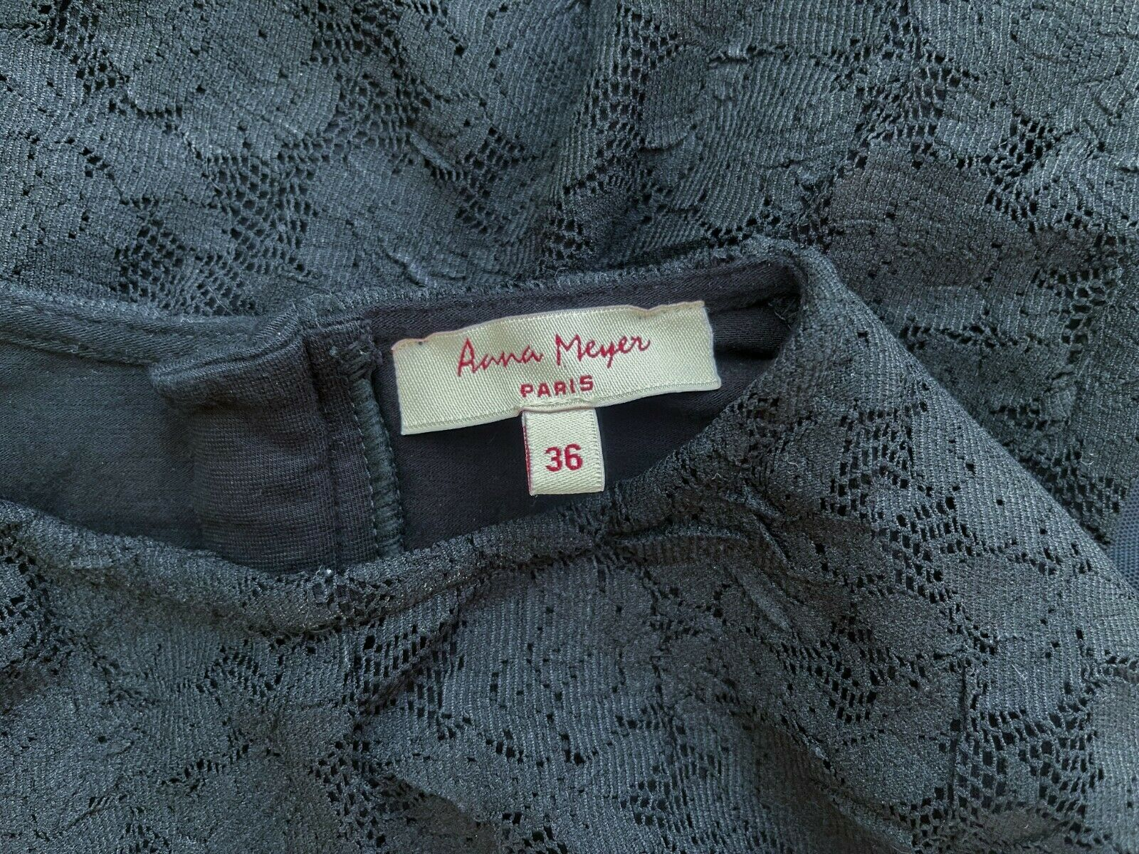 ANNA MEYER Paris Black Lace Blouse Top with Flare… - image 3