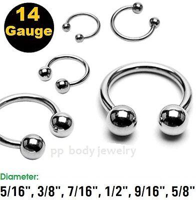 "Lip 2pc.14g~ 5//16/"" 3//8/"" 1//2/"" Surgical Steel Horseshoe Earrings Septum 7//16/"""