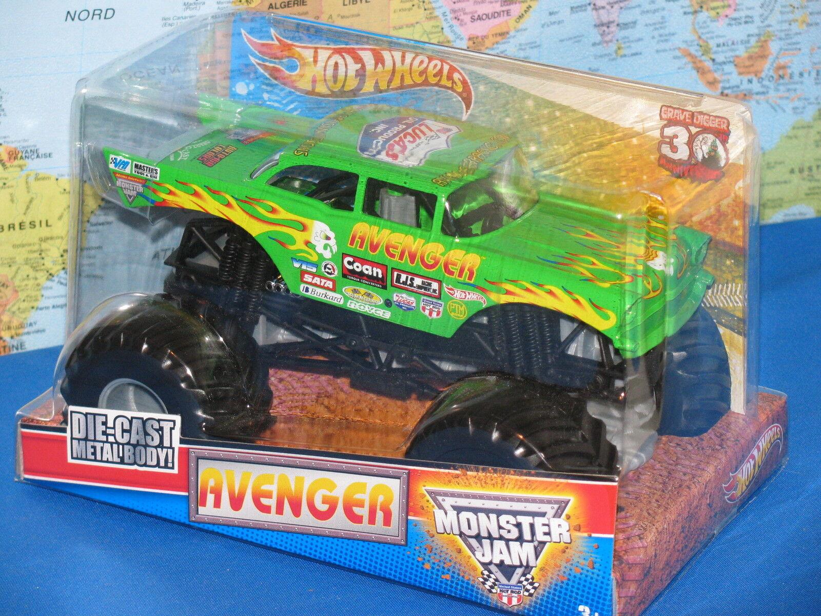 1 24 Hot Wheels Confiture de Monstre Avenger Camion 30ème Anniversaire Avancé