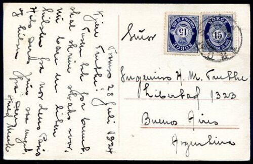 NORWAY TO ARGENTINA TROMSO Cancel on Circulated Postcard 1924 VF