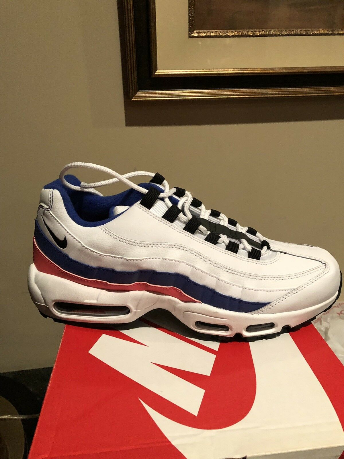 Nike Air Max 95 Essential Ultramarine Size 12 White Black Solar Red 749766-106