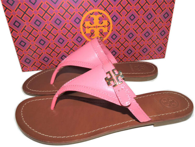 0e2222dc578  195 Tory Burch Pink Leather Thongs Sandals Gold Logo Shoe Flip Flop 6.5  Shoes