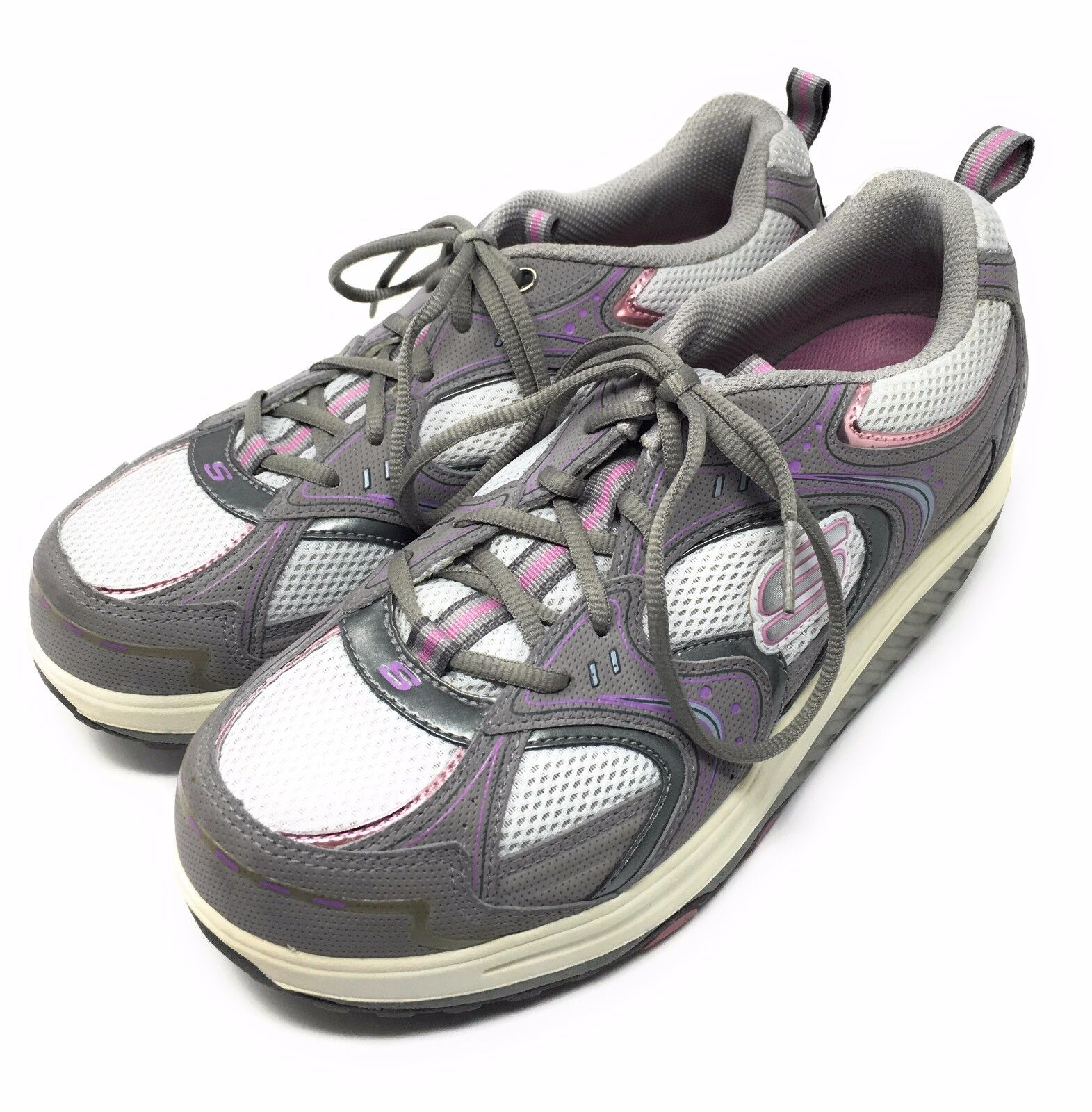 Skechers Shape Ups Womens Shoes Gray Pink Toning Walking Size 10 11806