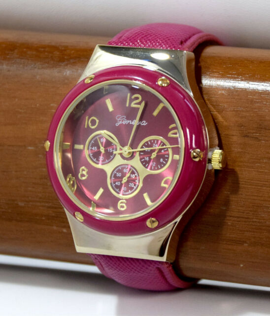 NEW Geneva 12800 Women's Casual Faux Chrono Pink/Gold Fashion Boyfriend Watch