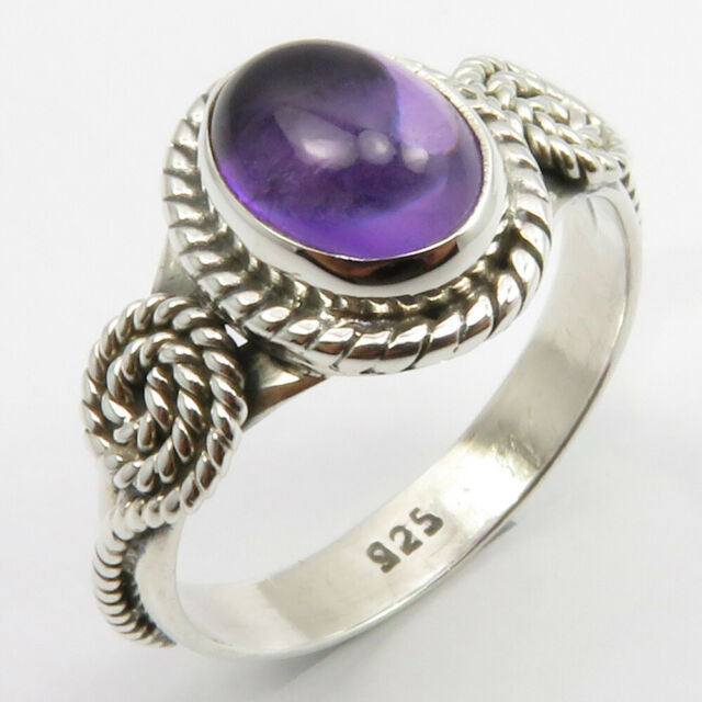925 Pure Silver Amethyst Ring Size 7.75 Gems Jewelry | eBay