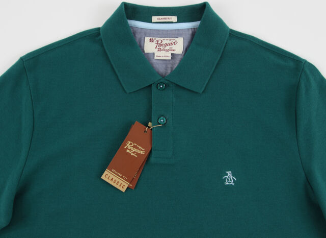 Men S Penguin Deep Emerald Green Polo Shirt Large L Nwt New Clic Fit Nice