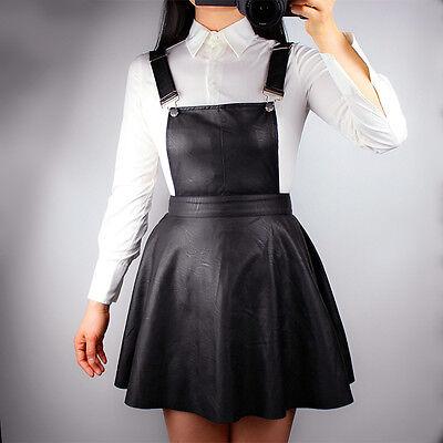 New Black  Faux Leather Flippy Skater Overalls Strap Short Mini Pinafore Dress