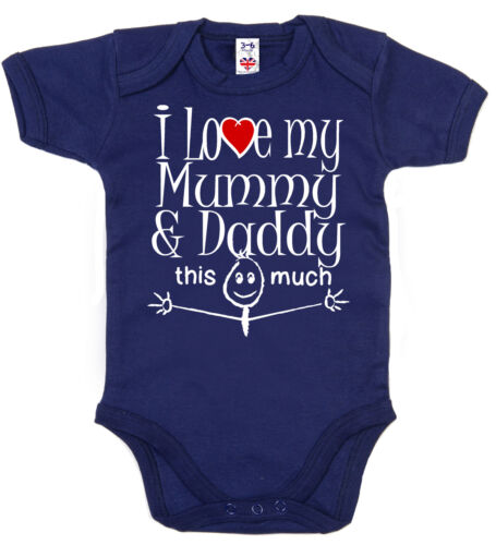 "Funny Baby Bodysuit /""I Love My Mummy /& Daddy this Much/"" Babygrow Newborn Gift"