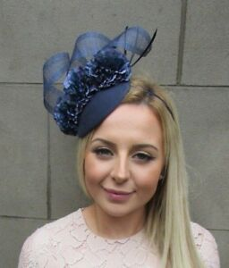 Image is loading Navy-Blue-Flower-Feather-Pillbox-Hat-Hair-Fascinator- 5b4ae4817fe