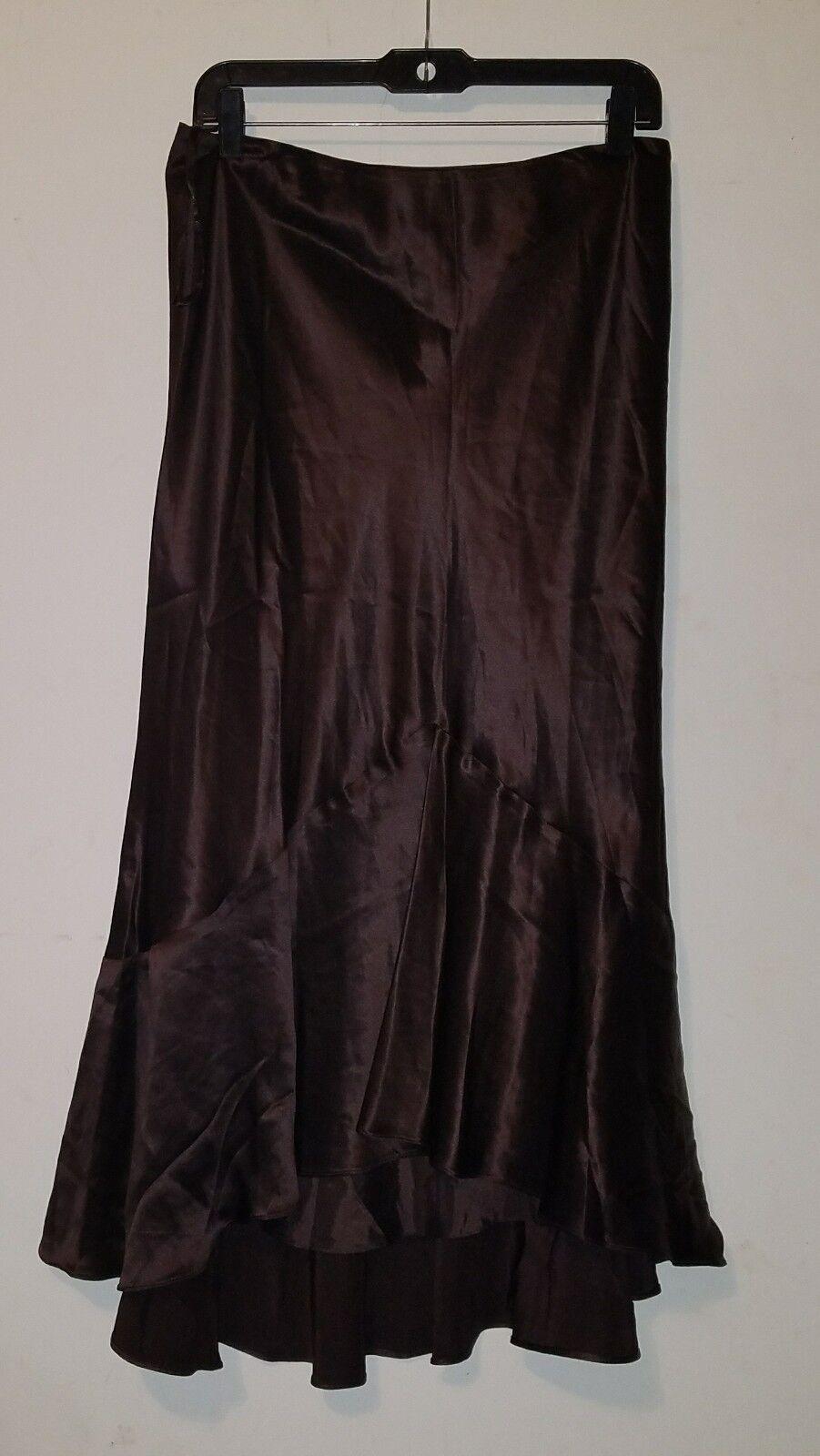 NWT LAUREN Ralph Lauren Silk Anglesey High Low Skirt Chocolate  sz 8