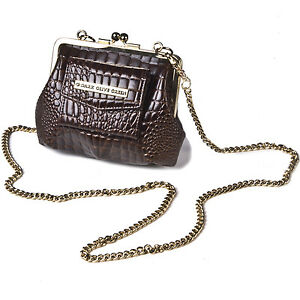 Designer-Crocodile-Skin-Clasp-Purse-Small-Shoulder-Bag-Coin-Leather-Vintage