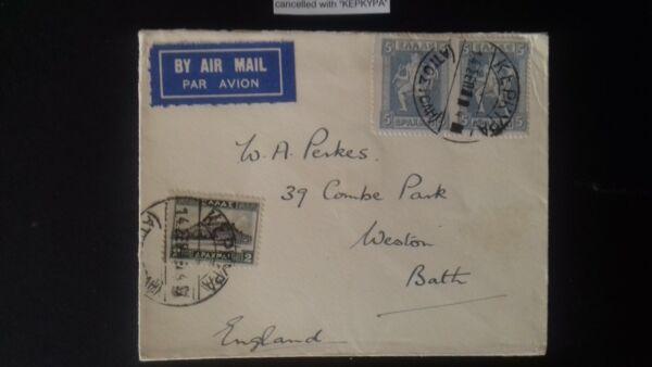 1924 Grèce Kepkypa Corfou Cachet Annule Postal Cover à Bath En Angleterre