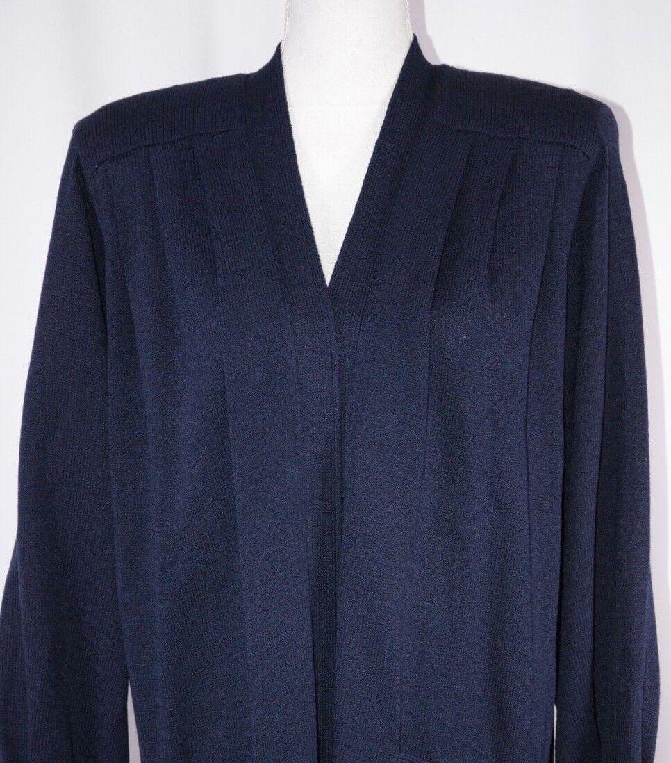 St John Basics Women's Open Front Knit Cardigan Size Small bluee Casual Cute USA