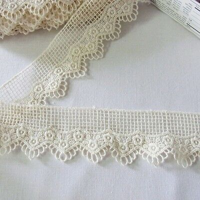 3Yards Vintage Style Embroidered Scalloped Cotton Fabric Crochet Lace Trim Doll