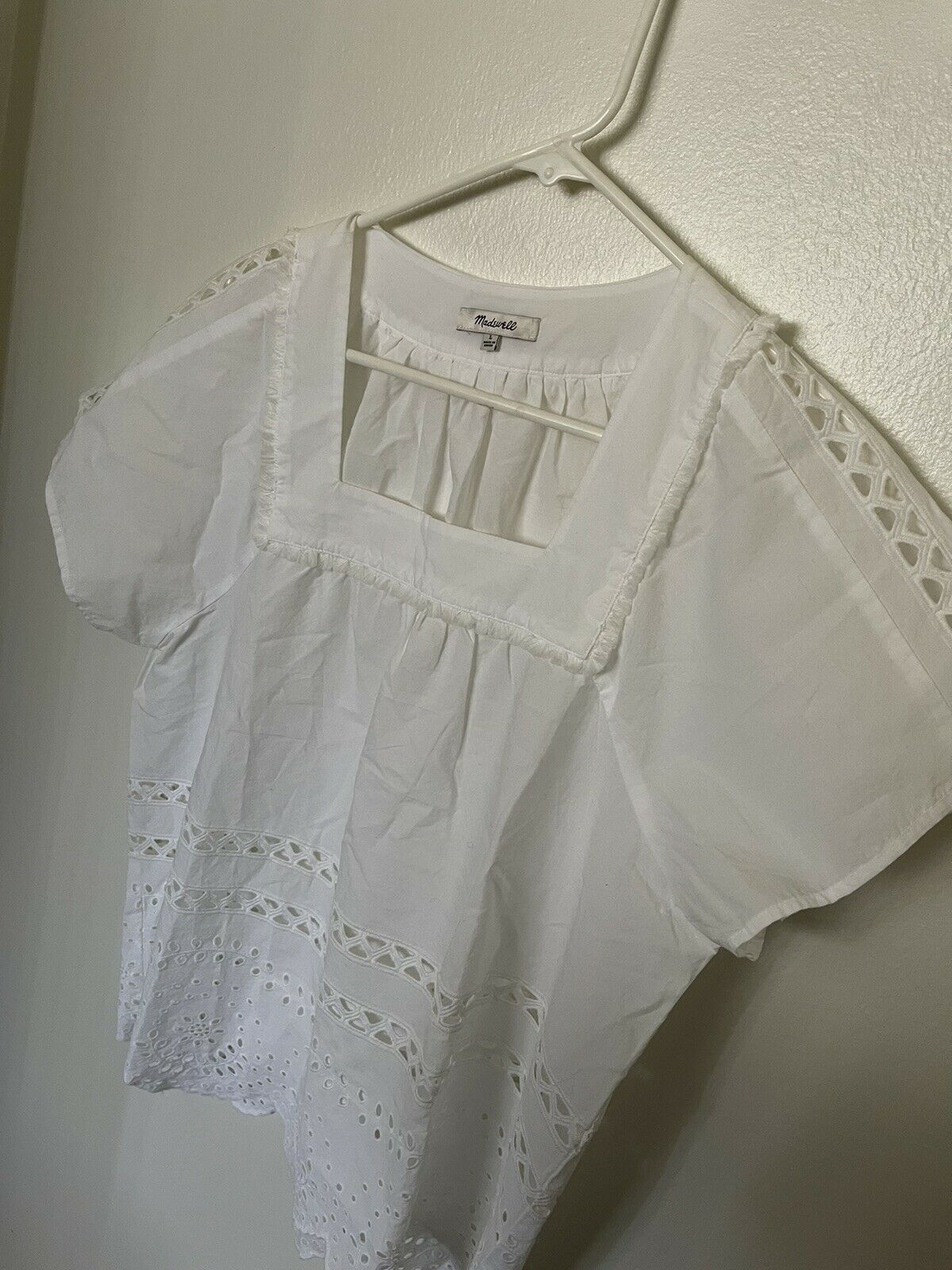 Madewell Top Womens Size L Cotton White Eyelet An… - image 2