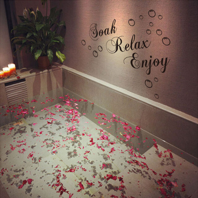 Bathroom Decal Vinyl Funny Wall Sticker Decor Removable Lettering DIY Wallpaper