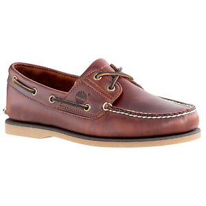 Details about Men's Timberland Classic 2 Eye Boat Shoe Brown Root Beer Smooth 25077