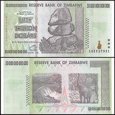 Zimbabwe 50 Trillion Dollars, AA/2008, P-90, Circulated,Used,100 Trillion Series