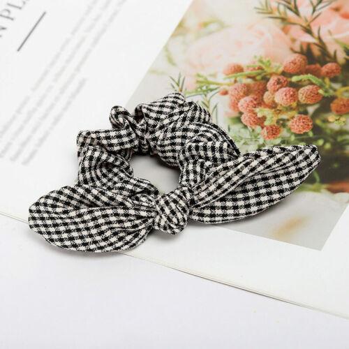 Polka Dots Elastic Hair Band Hair Ring Hair Rope Women Girls Bunny Ear Scrunchie