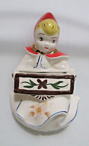 Vintage Little Red Riding Hood Style Wall Pocket Hanging Vase Pottery Japan