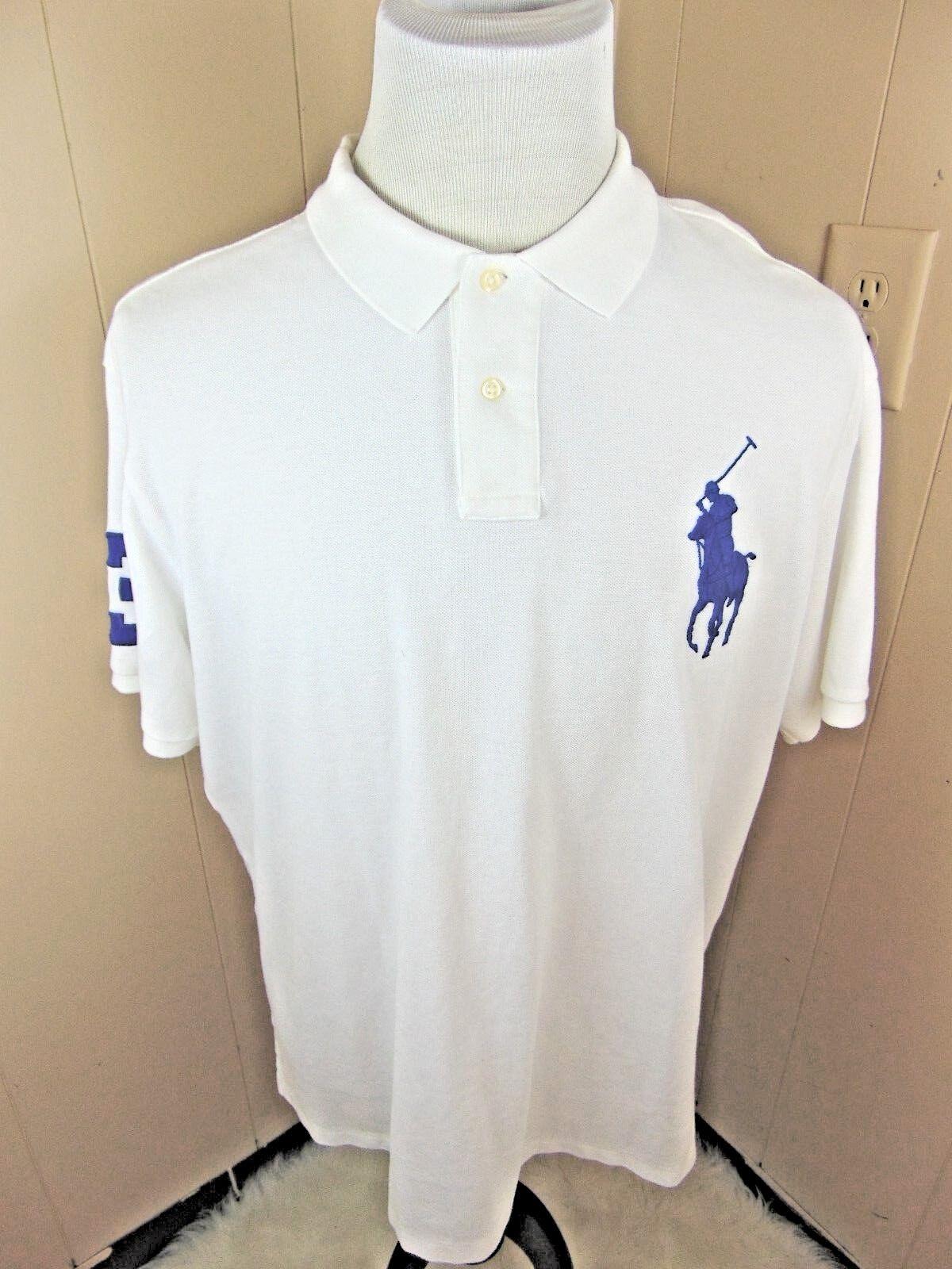 50d01a2e642 Polo Ralph Lauren XXL Slim Fit Big Pony Mesh Pique Knit Arm Big bluee  PonyBRL