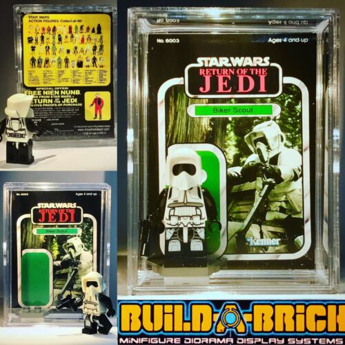 Star wars BIKER SCOUT Custom le retour du jedi Mini Action Figure w Display Case Mini-Figure