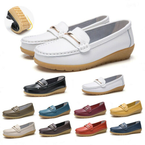 Women/'s Real Leather Loafers Casual Comfy Walking Office Ladies Flats Pump Shoes