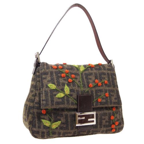 FENDI Zucca Flower Mamma Baguette Hand Bag Purse B
